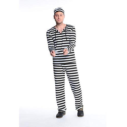 Kostüm Und Gefangenen Weiß Schwarz - LPP Pärchen Halloween Kostüm Prison Fugitive Pärchen Gefangene Kostüm Jailbreak schwarz weiß gestreift Cosplay für Partys, Tanz, Karneval, Männer, XL