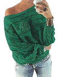 Las Mujeres Atractivas del Hombro 3D Floral Front Batwing de Manga Larga de Punto suéter suéter Pullovers