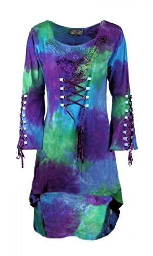 Dark Dreams Gothic Hippie Retro D-Ringe Mini Kleid Schleppe 38 40 42 neu Candice, Farbe:blue-multi, Größe:M/L (Multi Blue Kleid)