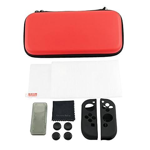 10 in 1 - Nintendo Switch Zubehör-Set - Durovis Gaming: Rote Hardcover Tasche / Panzerglas-Displayschutzfolie / Joy-Con-Gummi-Hüllen / Gamekarten-Case / Analogstick-Aufsätze /