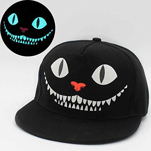 BOLLAER Fluoreszierende Snapback-Baseballkappen, Hip Hop Cap für Damen und Herren, Unisex, leuchtet im Dunkeln, verstellbar, Smile