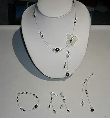 Parure petit papillon n° 1 marron et ivoire - Bijoux mariage - Cristal de swarovski