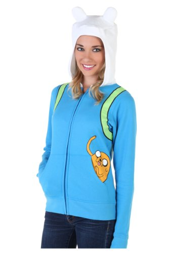 Adventure Time Finn The Human Damen Light Blau Kostüm Hoodie Sweatshirt (Kostüm Time Marceline Adventure)