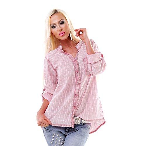 Italy Batik Used Bluse gepunktet Sommerbluse Fischerhemd Polka Dots Tunika Shirt Rosa