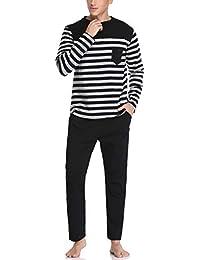 Hawiton Pijamas Hombre Invierno Manga Larga de Algodón Pantalones Largo Conjunto de Pijama de Hombre 2 Pieza