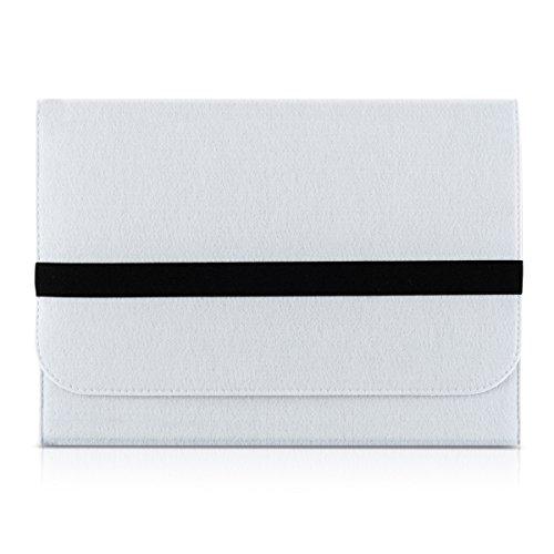 """Preisvergleich Produktbild kwmobile Laptoptasche Filz Sleeve für 11"""" 11, 6"""" Laptop - Notebook Tasche Schutzhülle Laptop Case Hülle in Weiß mit Innentaschen Innenmaße: ca. 31, 5 x 25 cm"""