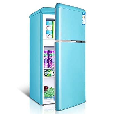 refrigerator Double door retro with freezer mini fridge removable partition bracket and transparent fruit and vegetable box for dormitory/office/apartment/car