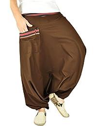 Sarouel virblatt unisexe, pantalon ethnique avec tissages traditionnels, sarouel monochrome avec une taille élastique et confortable, vêtements ethniques S - L