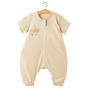 Eastery Saco De Dormir De Verano para Bebés Pijamas para Niños Estilo Simple Pequeños Pijamas 100% Algodón Orgánico 0.5 TOG con Pieles para Niños Y Niñas Manga Corta Marrón 80 Tamaño del Cuerpo