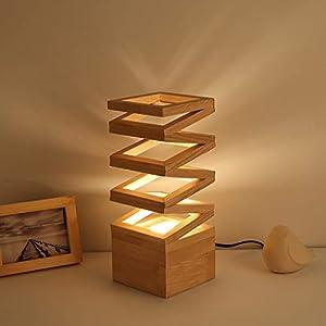 LISAHA Eichen-Holz-Dekoration Tischlampe, Plug-In Powered Dimmbare Vase Nachtlicht Romantische Für Wohnzimmer-Schlafzimmer-Lampe Am Bett Schreibtisch-Licht