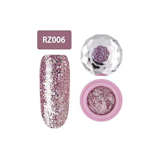 Nagel-Kunst-Gel,Jaminy 12 Farben Che Gel Nagel UV Gel Politur Absaugen Nail Art Decklack Pink Diamond FarbeGel Nagelkunst (F) Nail Schellack Politur