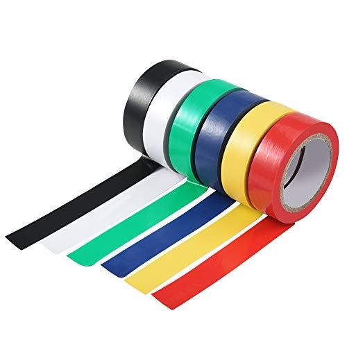 6 rotoli Nastro adesivo isolante 16 nastro isolante colorato PVC assortiti 6 colori lunghezza totale 60 m
