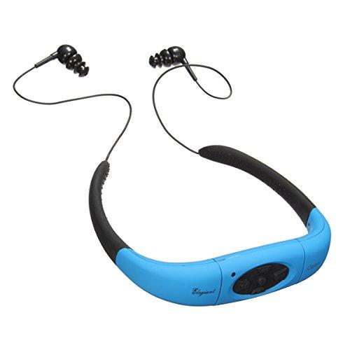 Schwimmen MP3 Headset, ELEGIANT IPX8 3M Unterwasser Wasserdicht 4GB MP3 Player schwimmen MP3 Player Headset Nackenbügel Halsbügel wiederaufladbar Kopfhörer Ohrhörer Zubehörpaket Kopfhörer USB 2.0 Flash Drive Sport Headphone mit FM Mode Funktion für Sport Outdoor Radfahren (Ohne Bluetooth Funktion) (Halsbügelgröße: 12.2cm x 10.5 cm. Kabel Länge: ca. 16cm) (Mp3-player-wasser)