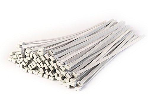 100Stück Heavy Duty Kabelbinder, 370mm x 4,8mm-PREMIUM Krawatte Packungen-Hohe Qualität Starke Nylon Zip Kabelbinder von gocableties, silber (8 Kabelbinder Heavy Duty)