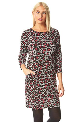 Roman Originals Vestido Tipo túnica con Estampado de Leopardo para Mujer, Informal, de otoño, de Invierno, con Cuello Redondo de Leopardo, Manga 3/4, hasta la Rodilla