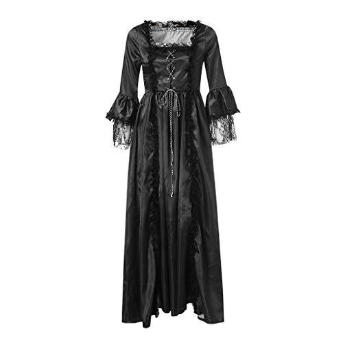 Huacat Damen Mittelalter Kleid Square Kragen Bundle Taille Color Block Stitching Mittelalter Renaissance Vintage Kleid zweiteiliges Set Halloween Party Königin Kleider - Reformation Party Kostüm