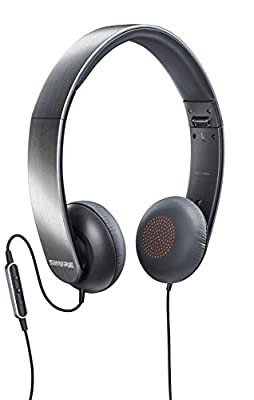 Shure SRH145M+-E Closed-back Headphones with remote control and microphone suitable for iPhone/iPad/iPod, portabel, collapsible, metallic