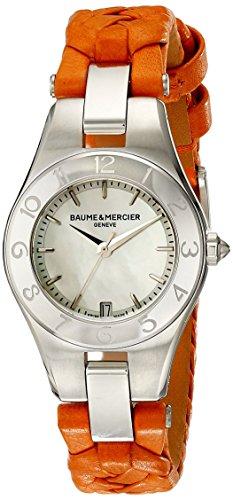 Baume et Mercier Mercier Leder Mutter Damen Orange Uhr Pearl Linea Baume Zifferblatt und der