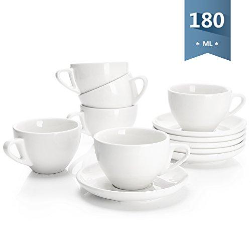 Sweese 402.001 6-teilig Cappuccinotassen Set aus Porzellan, Dickwandige Kaffeetassen mit Untertasse, 180 ml