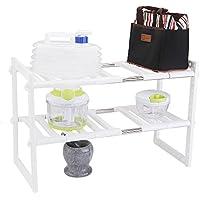 Estantería para fregadero, Uten 2 niveles estante de almacenaje regulable para baño y cocina, color blanco