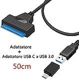 GeekerChip Adattatore USB 3.0 a SATA,Type-c a USB-C,Convertitore SATA USB C per 2.5 SSD HDD Adaptateur SATA III Type-C Cable Adapter UASP Supporta Desktops Laptops Compatible Windows/Mac OS