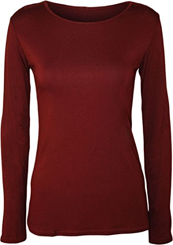 Janisramone Womens Ladies New Round Neck Long Sleeve Plain Casual Stretchy Tee Basic Slim Fit T-Shirt Top