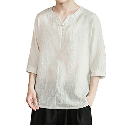 Luckycat Herren Leinenhemd leinen Shirt Hemden mit Stehkragen Kurze Knopfleiste Slim fit für Herren Leinenhemd Herren Henley Shirt Herren Freizeithemden Herren Kurzarm Langarm Hemd Herren Leinen Shirt