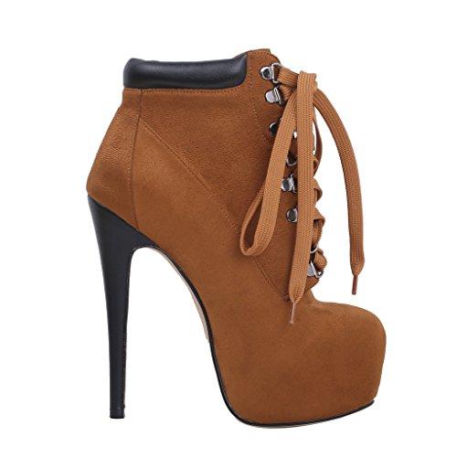 Calaier Femme Castation Designer Fashion Zipper Rivet Studded Chaussures 16CM Aiguille Auto Cravate Bottes Marron