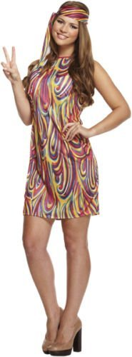 Women's Psychedleic Hippy Costume for Women. Sizes 8 to 14