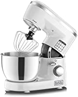 Black+Decker 1000W 6 Speed Stand Mixer with Stainless Steel Bowl, SM1000-B5, White, 2 Year Brand Warranty