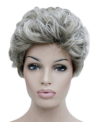 Kalyss Kurze Mischen Asche Graue Locken Lockige Synthetic Perücke Grey Curly Kinky Hair Wig Für Frauen