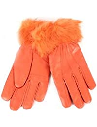 LADIES REAL GENUINE LEATHER TERRACOTTA FUR TRIM FLEECE LINED WINTER GLOVES