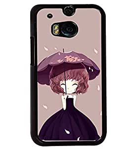 Printvisa Animated Girl Holding Umbrella Back Case Cover for HTC One M8::HTC M8