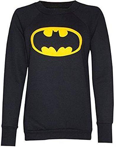 Fashion Charming pour femme Imprimé Logo Batman Sweat Pull à manches longues Noir - Noir
