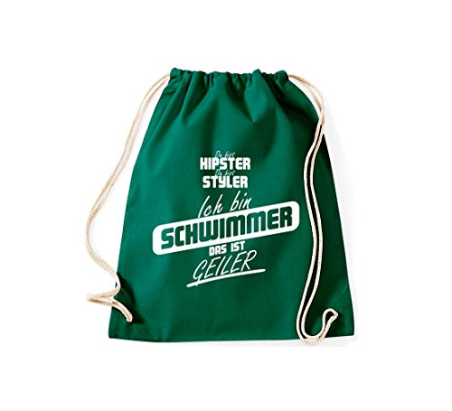 Shirtstown Turnbeutel du bist hipster du bist styler ich bin Schwimmer das ist geiler gruen