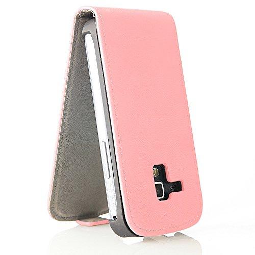 EGO® Flip Case für iPhone 4 4S, Weiß + Screen Protector Folie Etui Klapp Tasche Schutz Hülle Kunstleder Magnetverschluss Pink