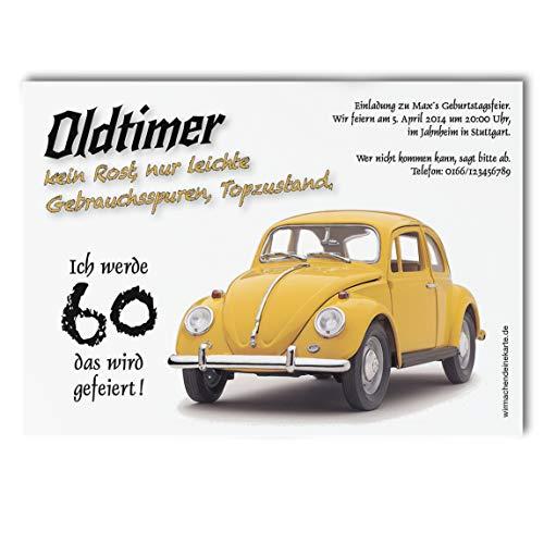 30x Einladungskarten zum Geburtstag Oldtimer Herbie - witzige Einladungskarten zum Geburtstag - Alter Käfer Einladungen zum Geburtstag 30er 40er 50er 60er 70er - Deine Einladung zum Geburtstag