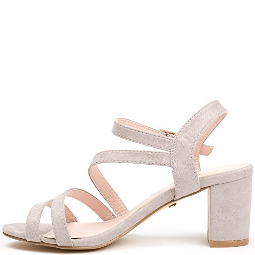 Ideal Shoes Sandales à Talon Carré Effet Daim Heva Gris