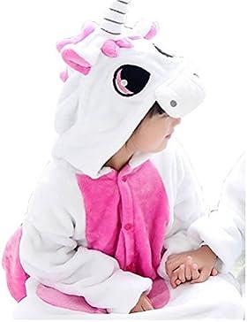 JT-Amigo - Pigiama Tutina Costume Animale - Bambina e Bambino - Unicorno Rosa, 6-8 Anni