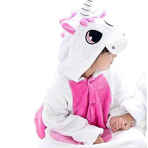 JT-Amigo Pyjama Combinaison Animaux Costume Déguisement Cosplay Enfant Fille Garçon, Licorne Rose, 4-6 ans