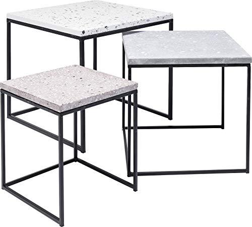 Terrazzo Square Lot de 3 Tables d'appoint 48 x 48 cm