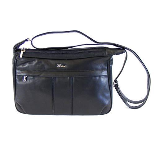 Pavini Damen Tasche Crossover Classics Echt-Leder schwarz Reißverschluss 16599