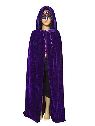 discoball Kinder Halloween Umhang mit Kapuze Vampir Kostüm Lang Satin Samt Cape Unisex Kapuze Karneval Fasching Cosplay Party Einheitsgröße für Kinder von ca. 8-10 Jahre ()