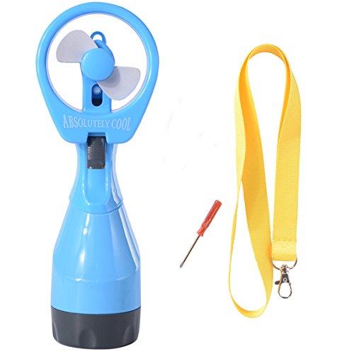 Cooler-wasser-flasche Mini (Neuester Akku-betriebener, Wasser sprühender Miniventilator Spray Mini Fan mit Flaschenbefeuchtungssystem + ein Schlüsselband und einem Haken HG080 (blau))