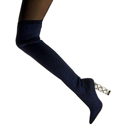 Boot 5 Flessibile Slip Pattino Oro Modo on Lucentezza Blocco Blu Disco 10 Cm Di Tallone Angkorly Cuissarde Luccica Donna xg40Bwq