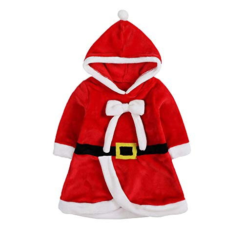 (Lee Little Angel Weihnachts-kinderprinzessin Kapuzen Bow Kostüm Kleid (70, Rot))
