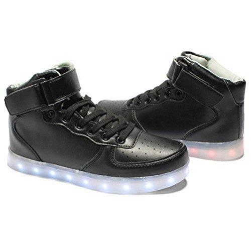 (Present:kleines Handtuch)JUNGLEST® 7 Farbe Lackleder High Top USB Aufladen LED Leuchtend Sport Schuhe Sportschuhe Sneaker Turnschuhe für Unisex-Erwachsene High Top mit Velcro Schwarz