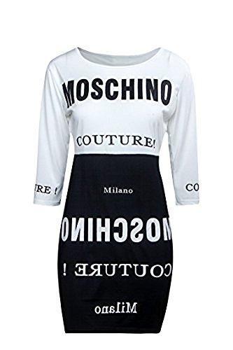 nuovo-da-donna-nero-bianco-moda-stampato-t-shirt-dress-club-wear-estivo-casual-vestito-taglia-s-uk-8