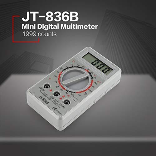 JT-836B Mini Handheld Digital-Multimeter 1999 zählt AC/DC Volt Amp Ohm Ohm hFE Tester Amperemeter Voltmeter Ohmmeter (Farbe: Grau)