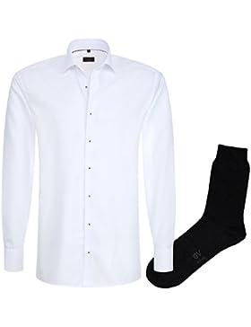 ETERNA Herrenhemd Modern Fit, weiß, Fein Oxford + 1 Paar hochwertige Socken, Bundle